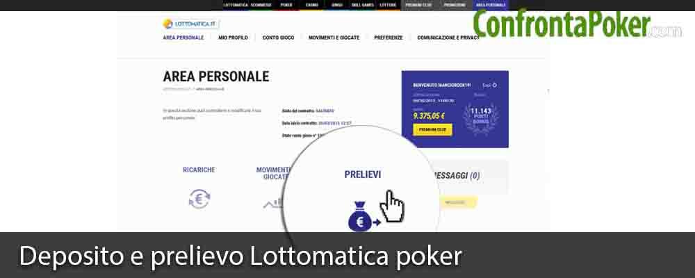 Deposito e prelievo Lottomatica poker