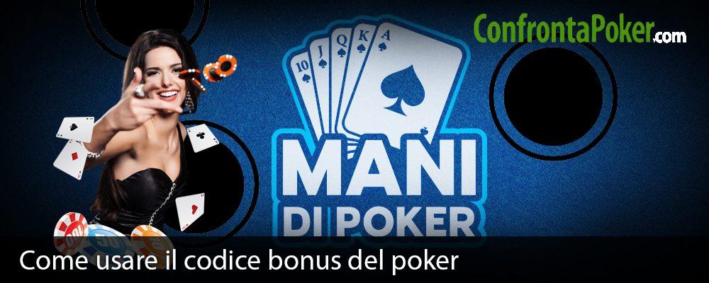 Come usare il codice bonus del poker